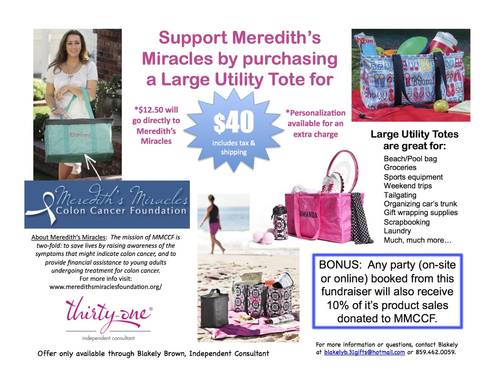 Meredith S Miracles Colon Cancer Foundation Mmccf Thirty One Fundraiser Event
