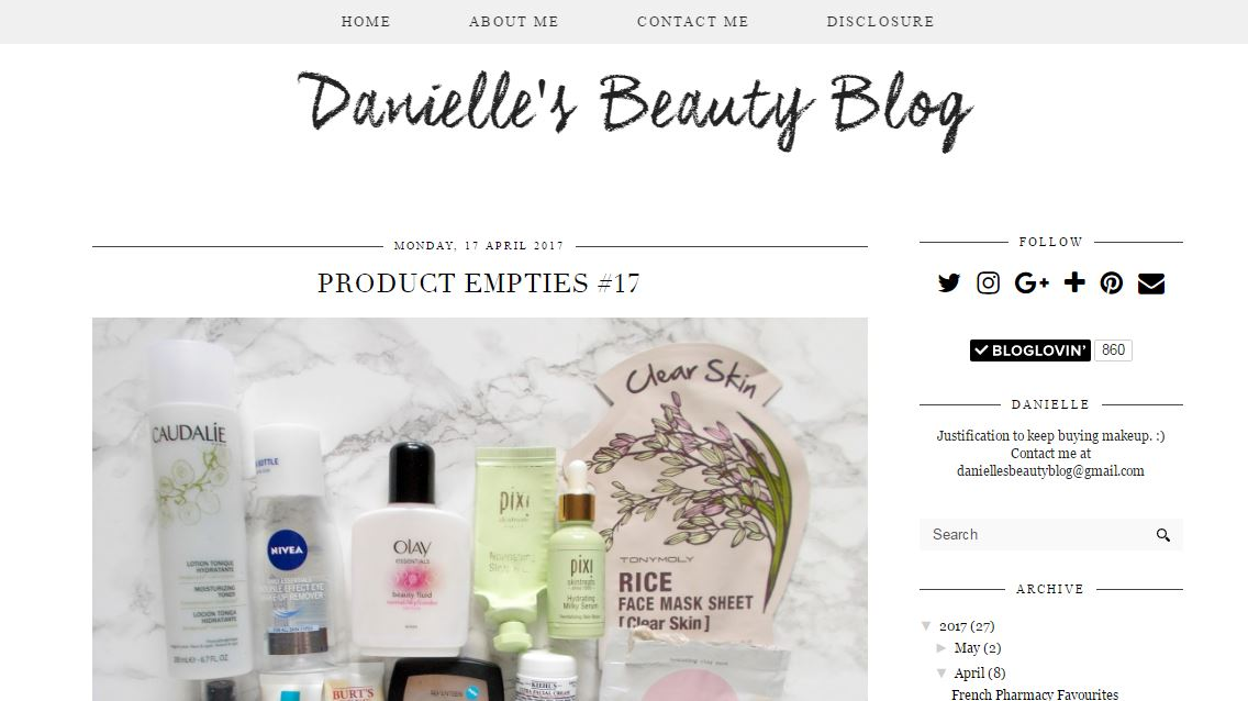Bloggers You Need To Check Out-Danielle's Beauty Blog
