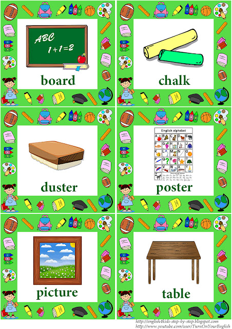 foreign language school vocabulary flashcards with words