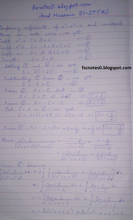 FSc ICS Notes Math Part 2 Chapter 3 Integration Exercise 3.5 question 23 - 31 by Asad Hussain 9