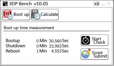 3DP Bench tempo di avvio, spegnimento riavvio PC