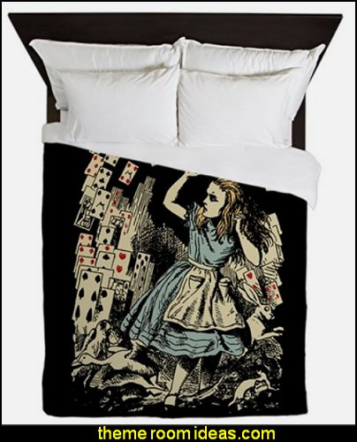 Vintage Alice Flying Cards Dark Queen Duvet