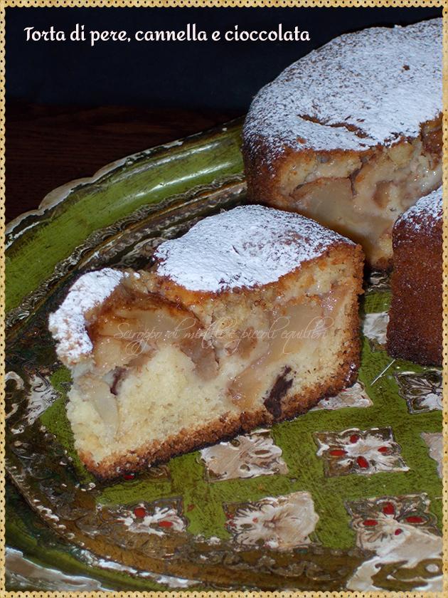 Torta di pere, cannella e cioccolata