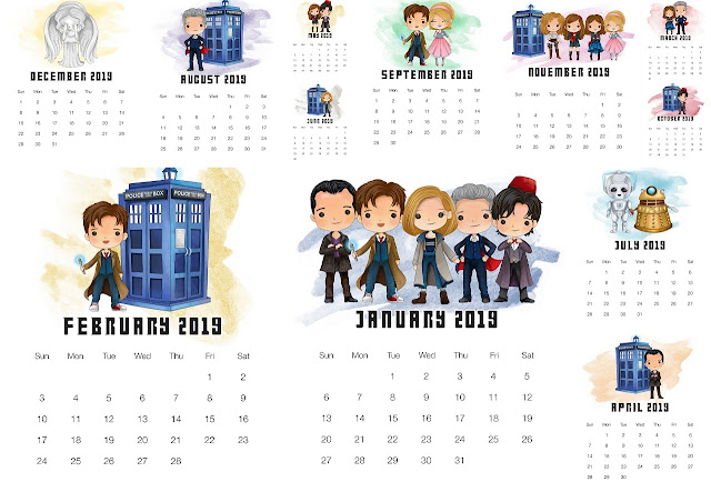 Free Printable Dr. Who 2019 Calendar.