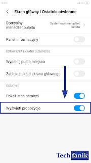 Xiaomi MIUI 10 Ustawienia Wyłączanie Propozycji
