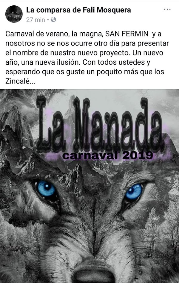 La comparsa de Fali Mosquera en 2018 'Los Zincalé' serán para el COAC 2019 'La Manada'