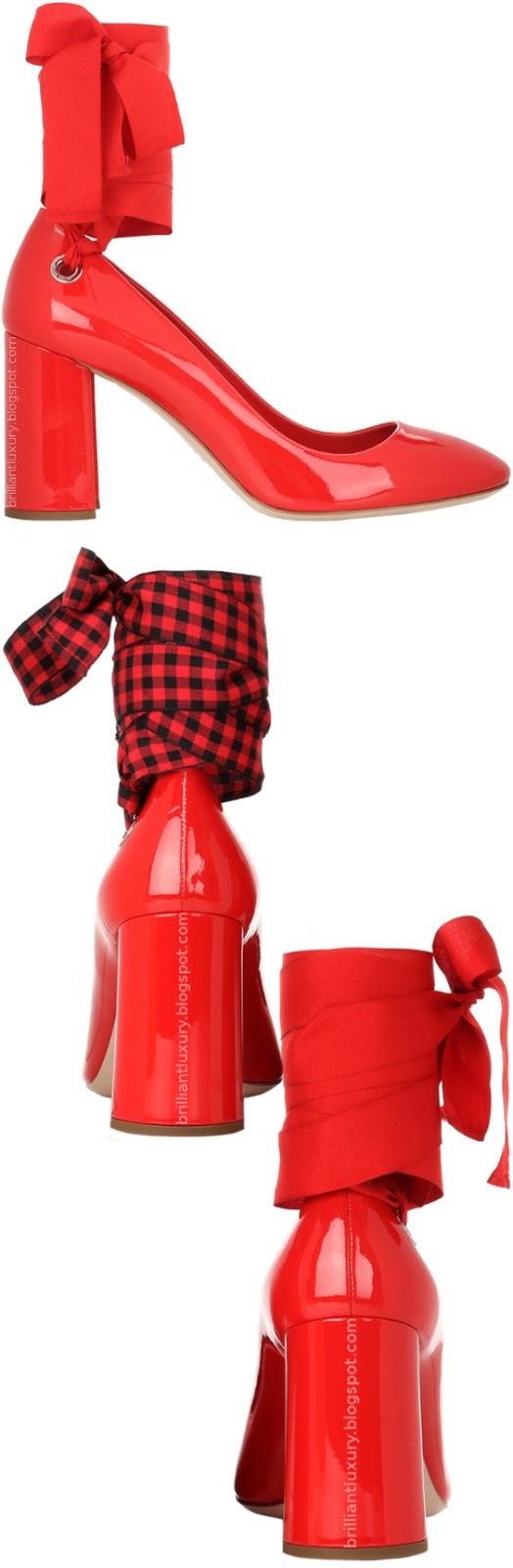 Brilliant Luxury ♦ Miu Miu red patent leather pumps