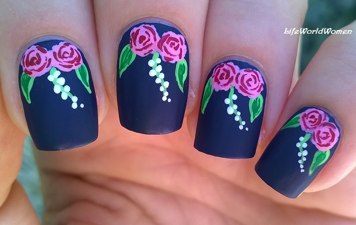 Matte Dark Blue Rose Nail Art Design Using Acrylic Paint