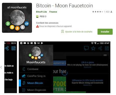 Exemple d'application Android pour les faucets Moon