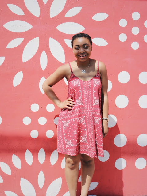 Miss Lauren Alston at Wynwood Walls Miami in Madewell dress