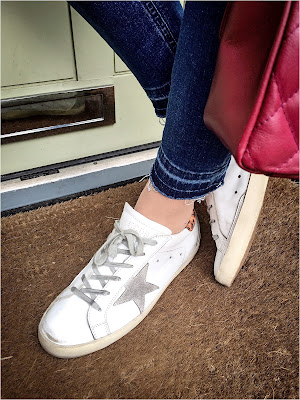 My Midlife Fashion, Boden Cropped Vintage Raw Edge Denim Jeans, Golden Goose Superstar Trainers, Ladies Leather Quilted Handbag