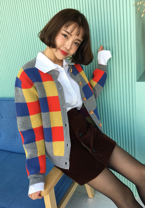 Buttoned Check Pattern Cardigan
