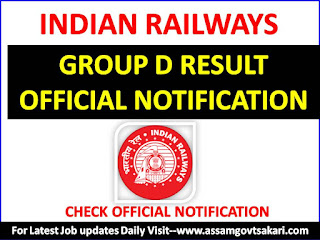 RRB Guwahati Group D CBT Exam Result 2018 Official Notification