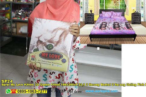 Sprei My Love Kitten 3D Queen Fitted 160x200xT.22,5 2 Sarung Bantal 2 Sarung Guling Pink Merah Jambu Binatang 3D Dewasa