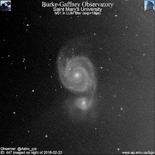 luminance photograph of galaxy M51 and companion