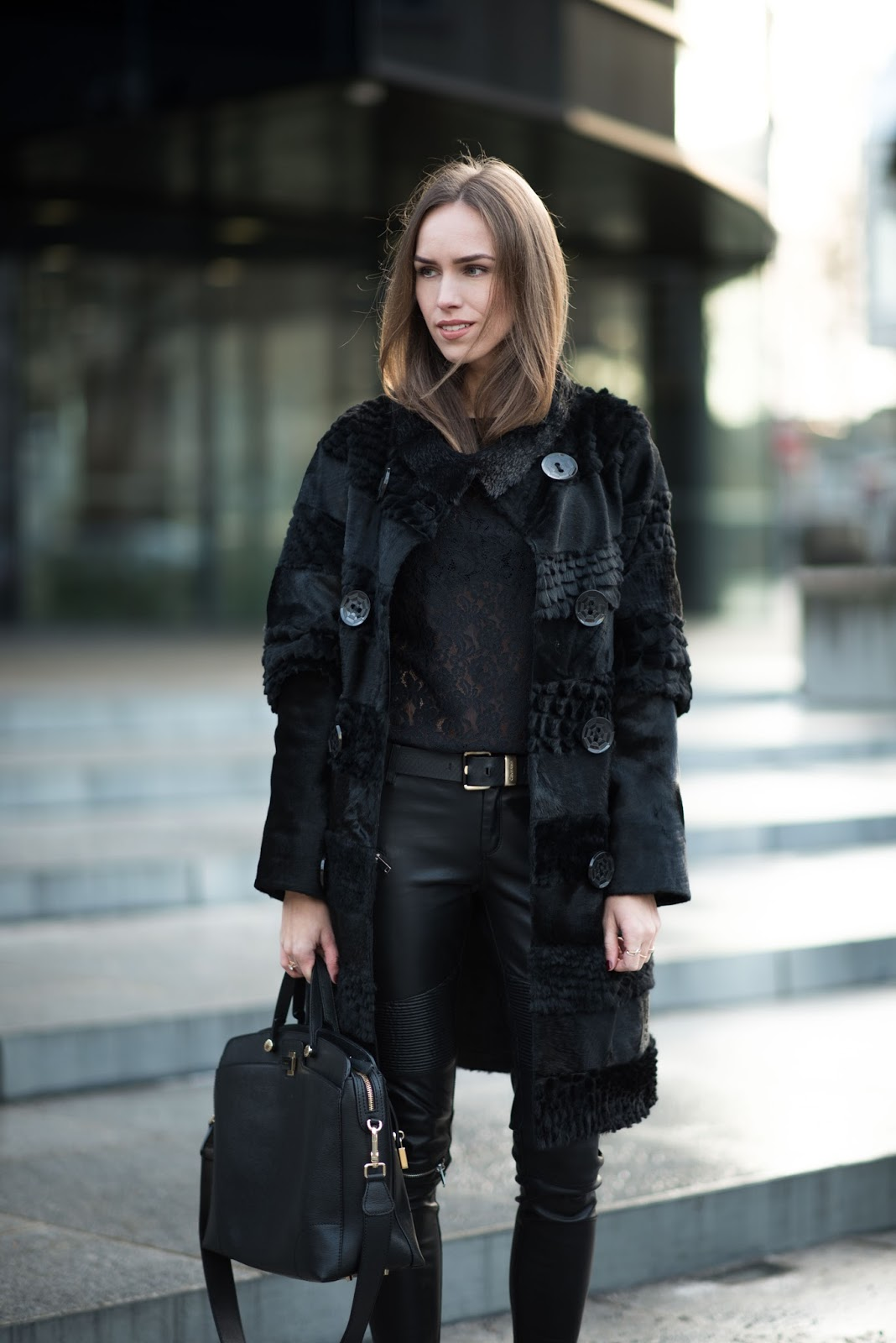 all black winter outfit