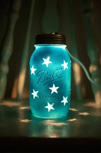 Lentera toples dengan efek glow in the dark.  Sumber cahayanya adalah lilin atau lampu, tapi toplesnya didesain sedemikian rupa hingga terlihat seperti glow in the dark.