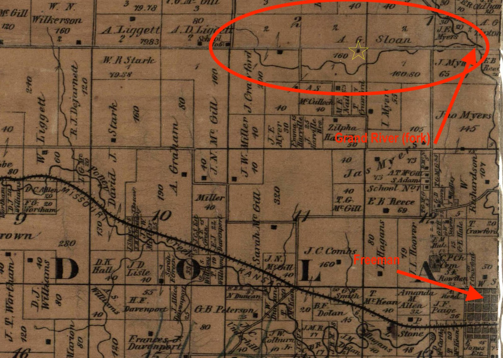 this map from 1877 showcases the cabin it sat just over four miles east of the kansas missouri border