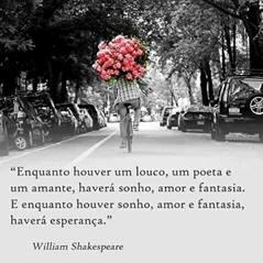 """Foto quadrada em preto e branco. Em uma alameda com as copas das árvores em arco, carros estacionados em ambos os lados, ao centro, de costas, um ciclista de camisa xadrez, calça jeans e tênis, apoia nos ombros um enorme bouquet de flores rosas. Abaixo, lê-se: """"Enquanto houver um louco, um poeta e um amante, haverá um sonho, amor e fantasia. E enquanto houver sonho, amor e fantasia, haverá esperança."""" William Shakespeare."""