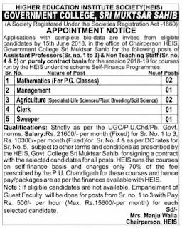 GC MUktsar Sahib Recruitment – Asstt. Professor, Clerk & Sweeper Posts