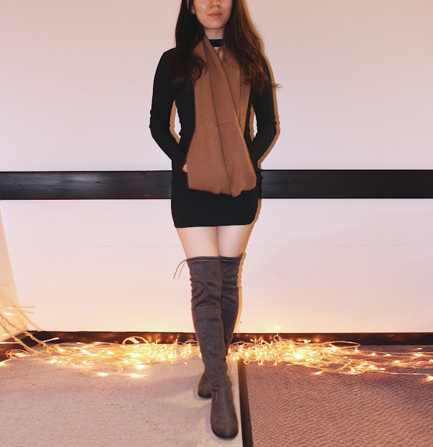 amiclubwear review, amiclubwear boots review, amiclubwear thigh high boots review, amiclubwear knee high boots, amiclubwear knee high boots suede, grey knee high boots outfit, taupe knee high boots outfit
