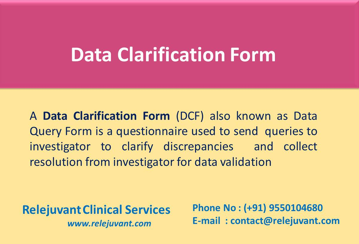 Data Clarification Form Dcf Relejuvant Clinical Services