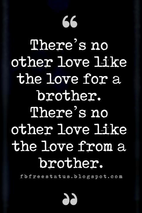 loving brother quotes, There's no other love like the love for a brother.
