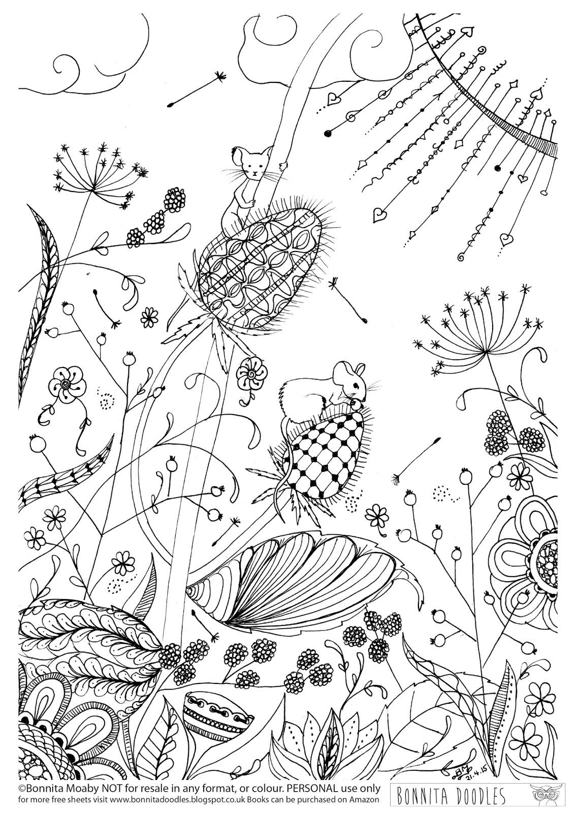 CBonnita Doodles Field Mice Colouring Sheet