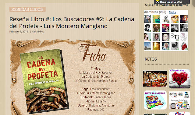 http://yerathel41.wix.com/agarratevienenlibros#!Rese%C3%B1a-Libro-89-Los-Buscadores-2-La-Cadena-del-Profeta-Luis-Montero-Manglano/ulspz/56b7dc350cf2062bd41b979a