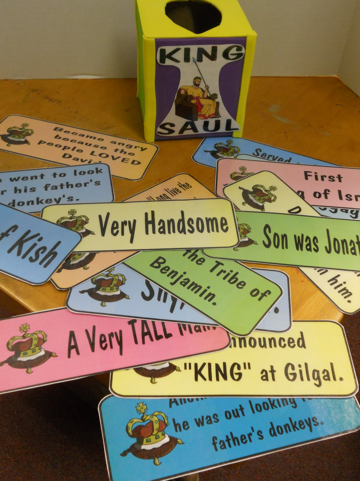 Hands On Bible Teacher Tissue Box Turned Review Game King Saul