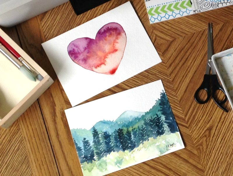 Watercolor Heart and Landscape Paintings by Elise Engh