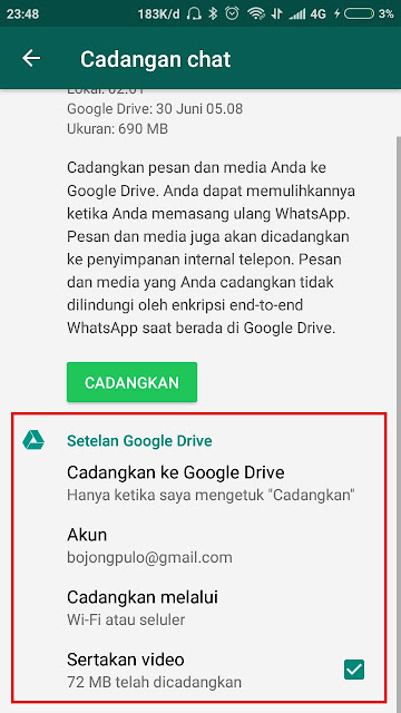 4. Cara Back-Up Data WhatsApp Ke Google Drive