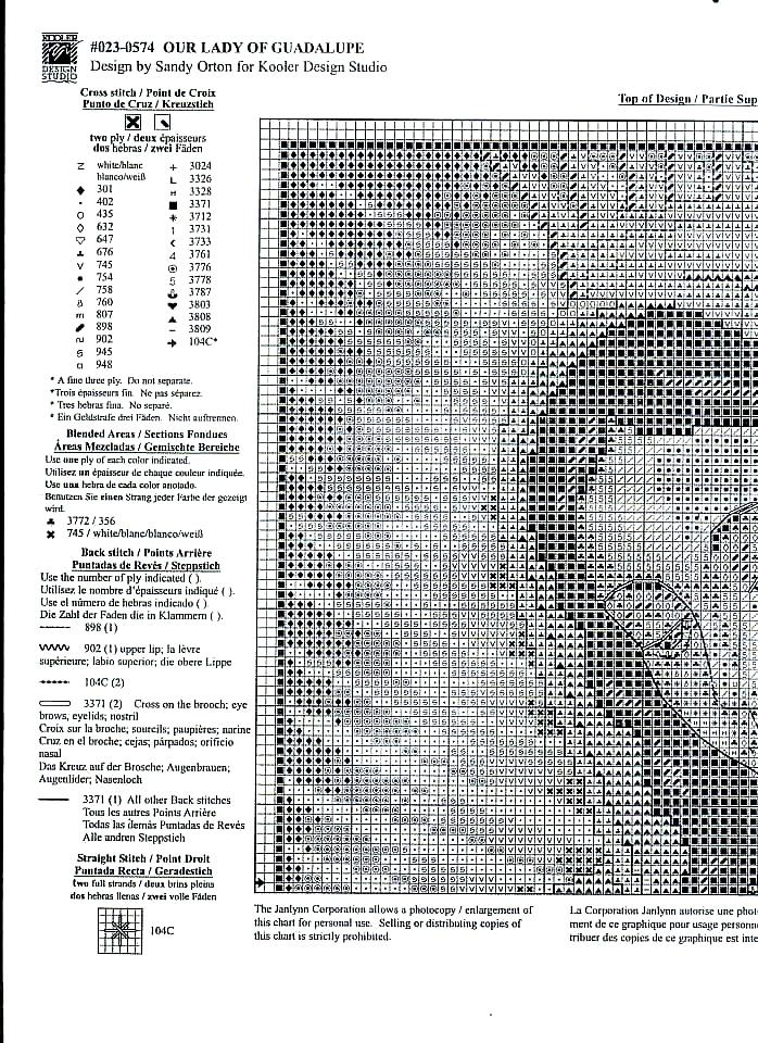 Immagini sacre a punto croce la madonna di guadalupe for Immagini di punto croce