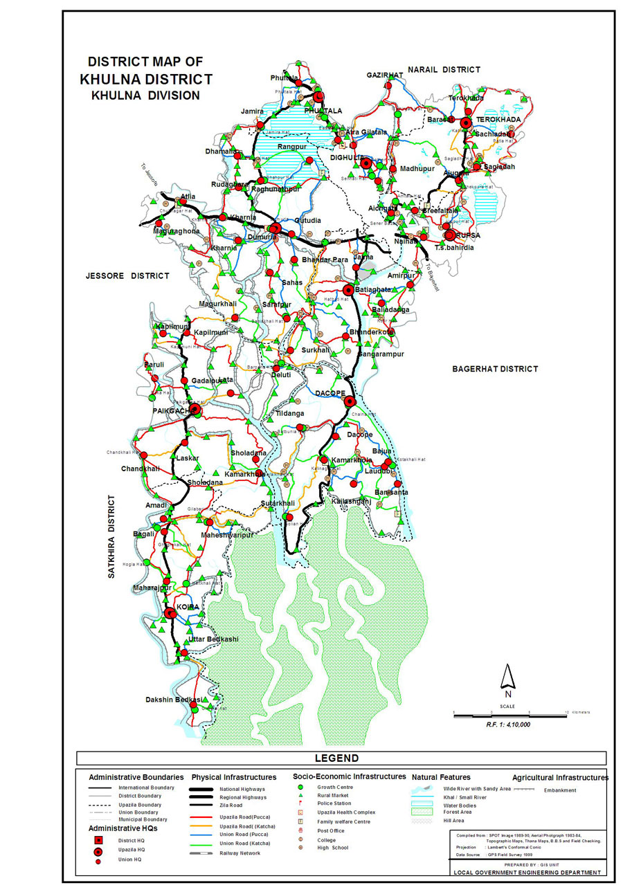 Khulna District Map Bangladesh