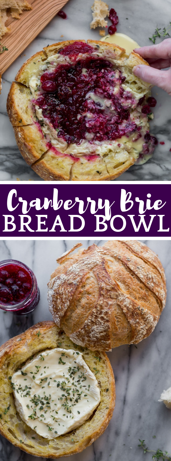 BAKED CRANBERRY BRIE BREAD BOWL  #appetizer #holidayfood