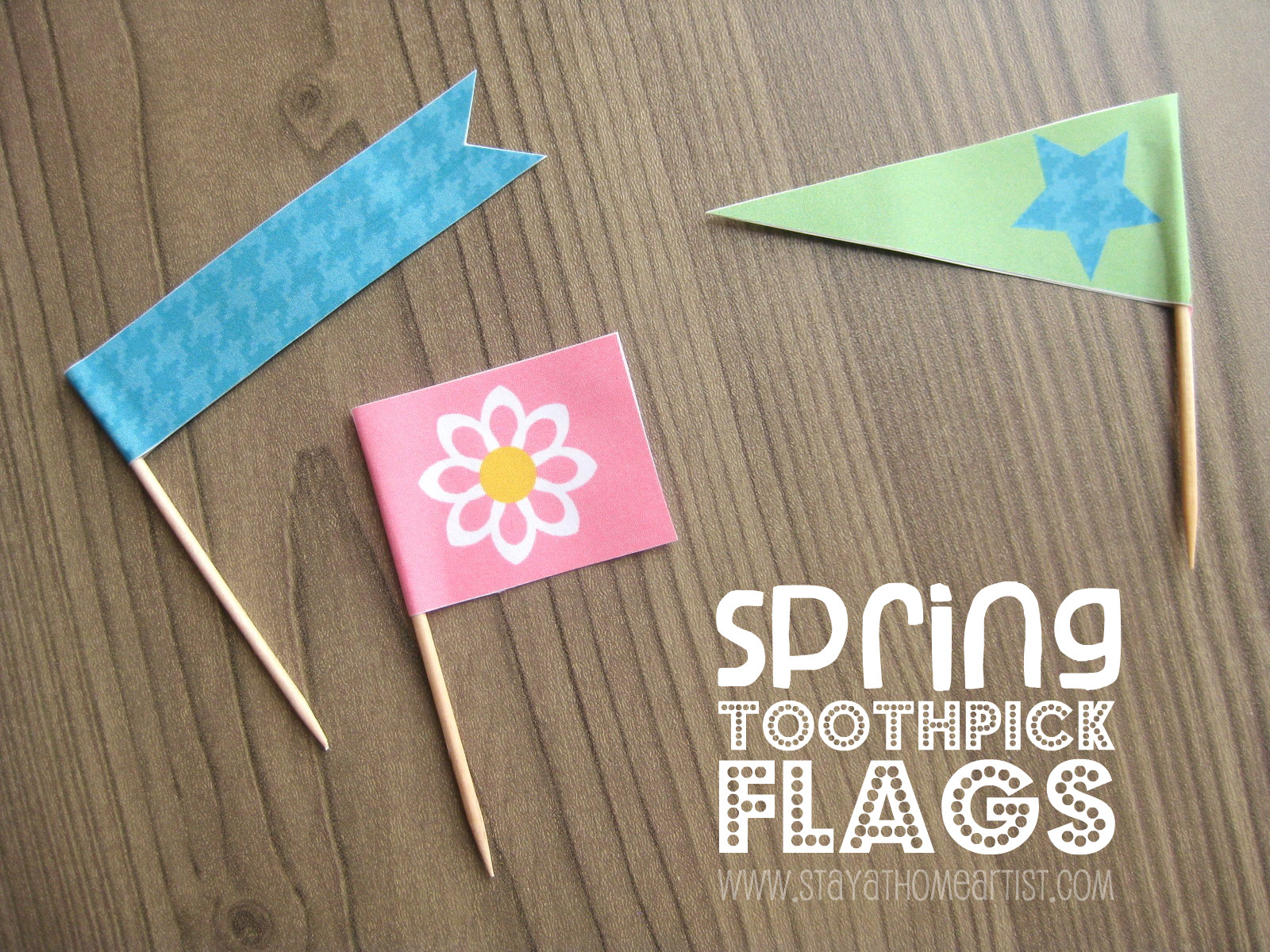Stayathomeartist Spring Toothpick Flags Free Printable