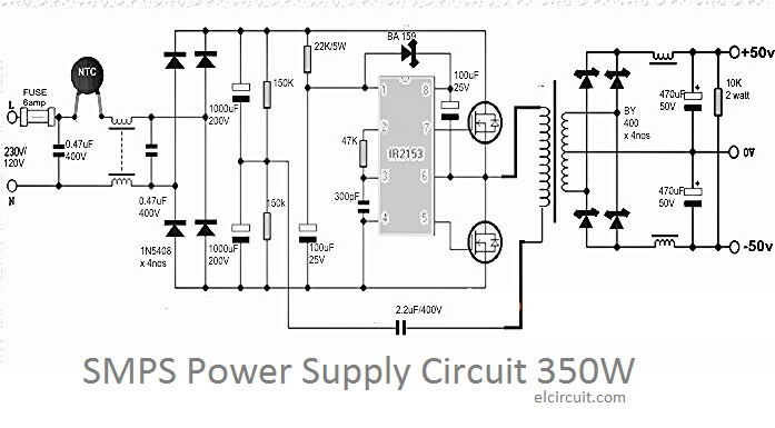 350w smps power supply circuit