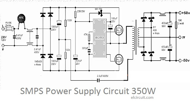 350W SMPS Power Supply Circuit Diagram