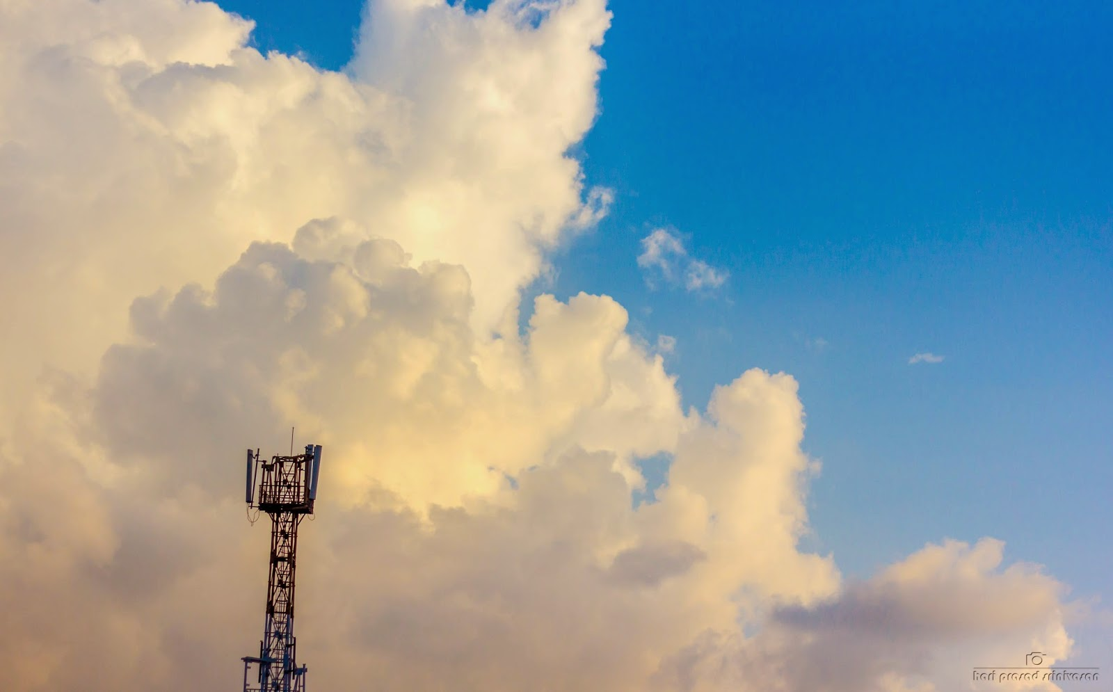 Cloud formation with cell phone tower in the picture