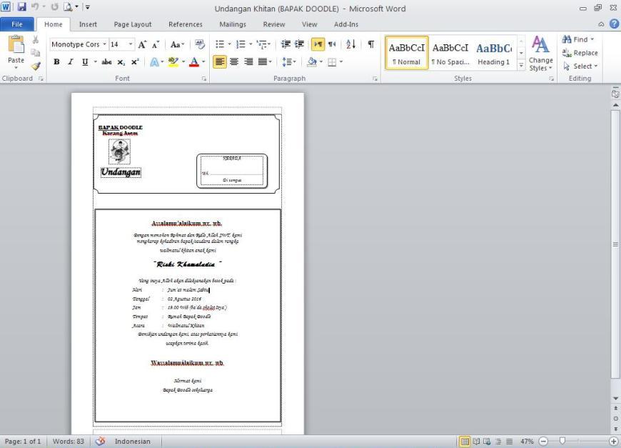 Contoh Undangan Khitan Atau Sunatan Dalam Bentuk File Microsoft Word
