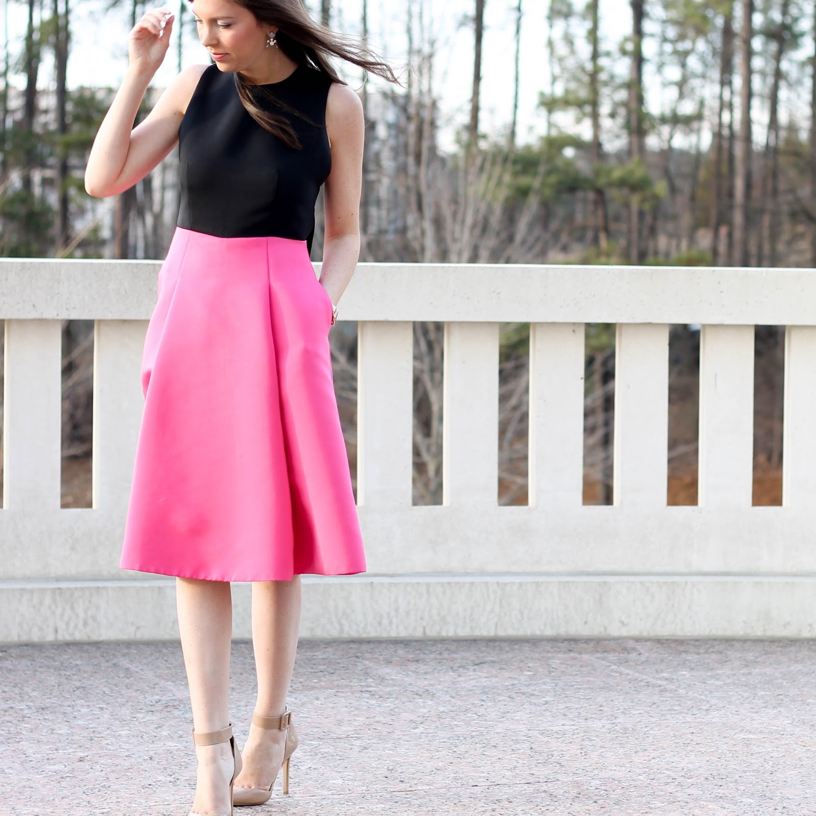 Kate Spade Bow back colorblock dress, Rent the Runway Valentine's dress, Rent the Runway wedding dress idea, NC Fashion Blogger, Stella Dot earrings, fossil tan leather watch with rose gold face, pretty in the pines blog