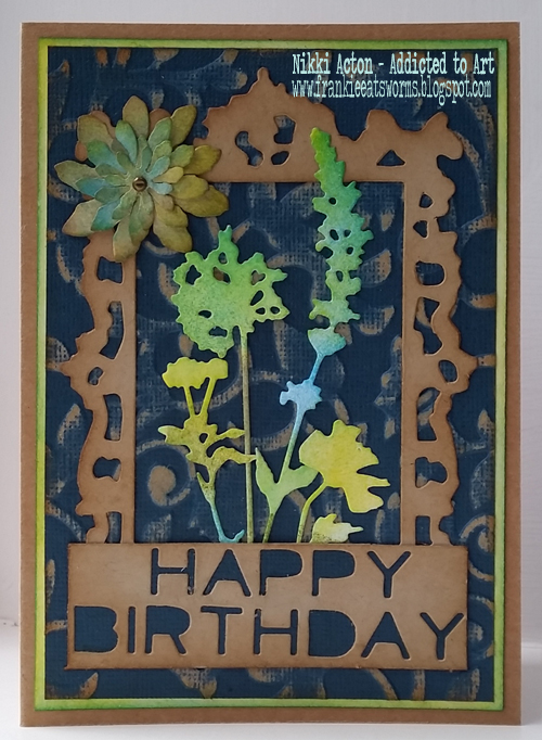 Birthday Card with Tim Holtz dies - mini tattered florals, wildflowers and sentiment words by Nikki Acton - Addicted to Art