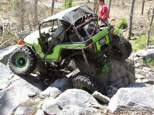 Rock crawler jeep in the woods