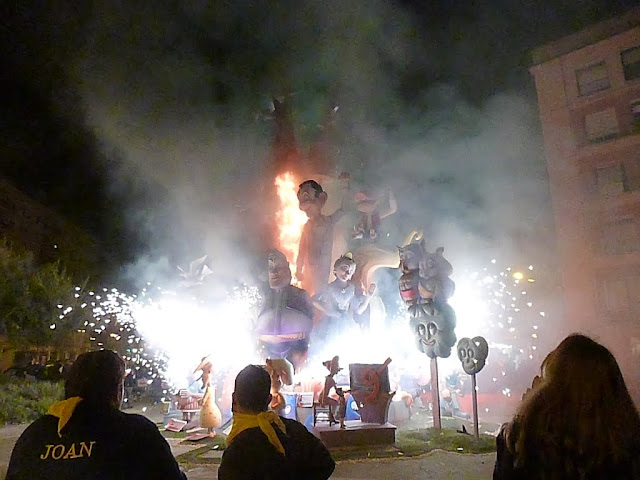 Works of art going up in flames during the Las Fallas Festival in Valencia, Spain