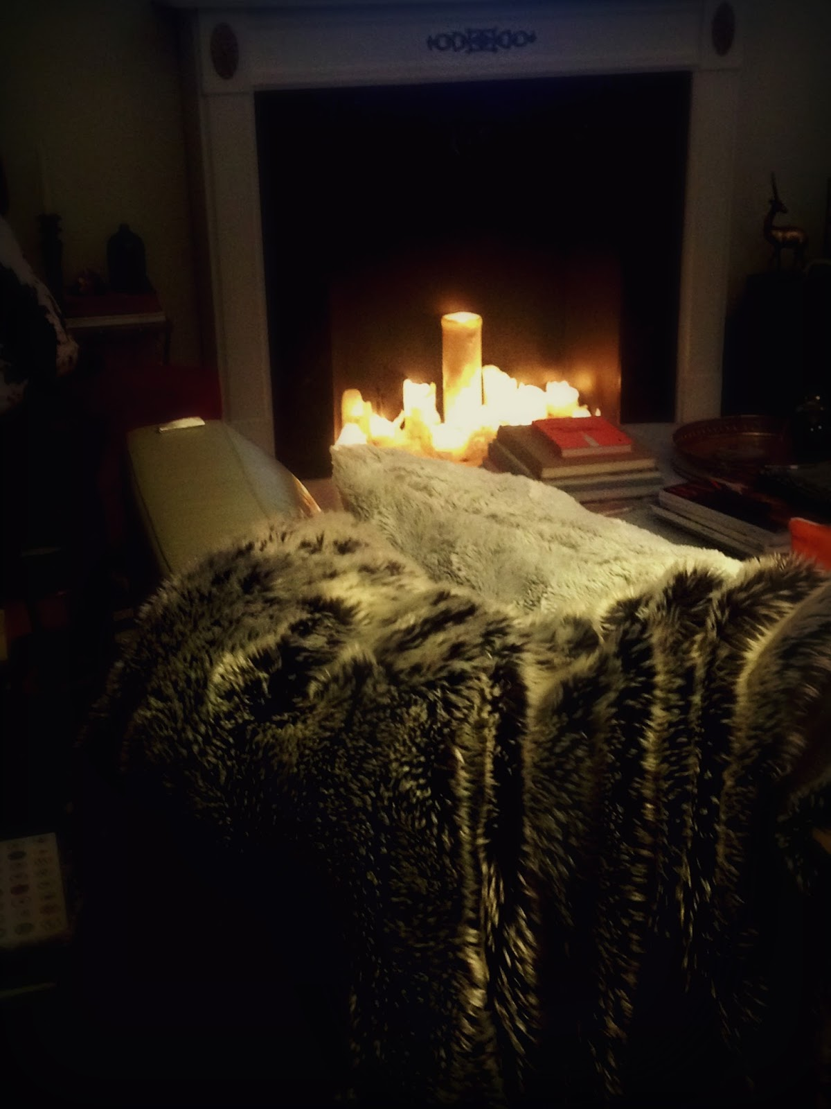 Candlelit Fireplace + Fur Throw and Pillows Rainy Night At Home