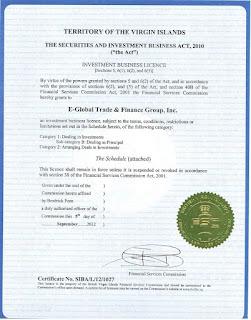 Лицензия Forex4you на предоставление финансовых услуг (FSC)