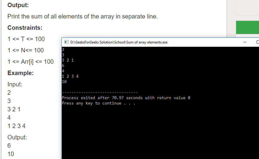 "Geeksforgeeks Solution For "" Sum of array elements """