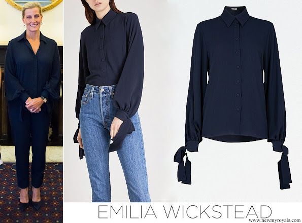 Countes Sophie of Wessex wore EMILIA WICKSTEAD Monica crepe shirt