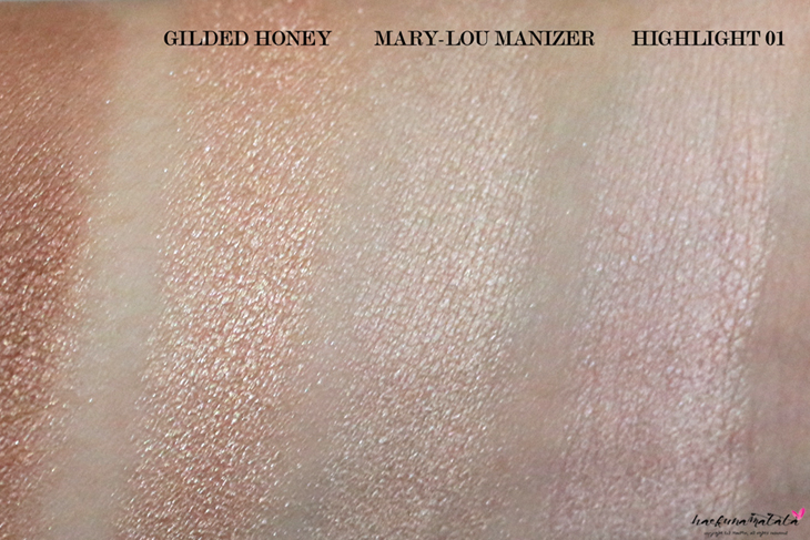 Laura Mercier Face Illuminator Comparison: Laura Geller Gilded Honey, the Balm Mary-Lou Manizer, Laura Mercier Highlight 01