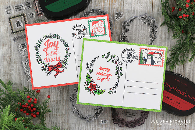 Merry Mail Christmas Postcards by Juliana Michaels featuring Scrapbook.com Exclusive Stamp Set Merry Mail, Rustic Wreaths and Holly Jolly Sentiments